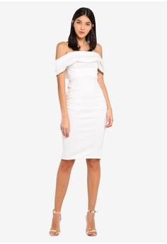 8f0b28d9e7a7 Miss Selfridge beige Cream Scuba Bardot Ivy Dress A60ADAAFE13E1BGS 1