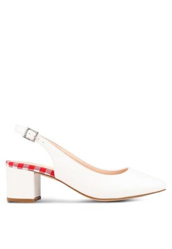 Nose 白色 方形鞋頭 後繞帶粗跟 CE26BSH638FCD5GS_1