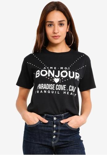 Miss Selfridge white Bonjour Diamonte Tee 2810FAAF8C753EGS_1