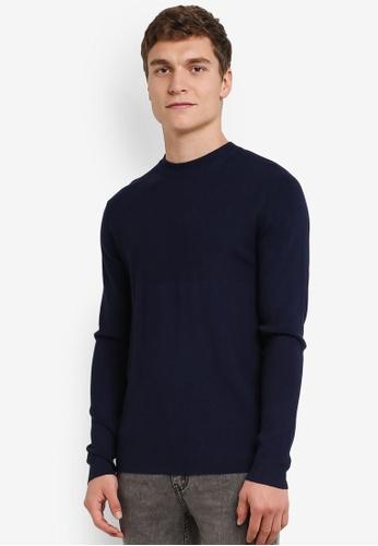 MANGO Man navy Ribbed Detail Sweater MA449AA0S37OMY_1