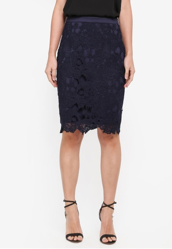 ZALORA navy Pencil Lace Skirt 63A40AAD41CE7BGS_1