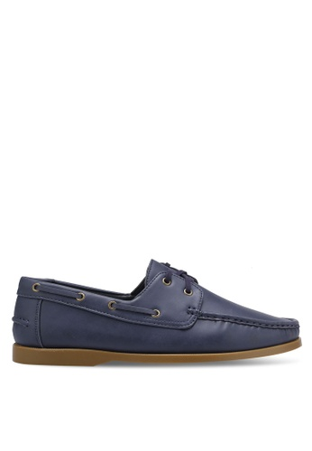 ZALORA navy Essential Faux Leather Boat Shoes 691E6SHC1D66A0GS_1