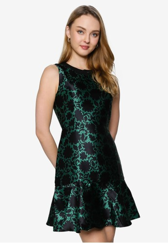 Saturday Club green Abstract Printed Dress With Cut-Out Back A15CAAA46F82A2GS_1