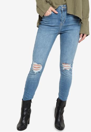 6b436ddac Shop TOPSHOP Moto Mid Blue Ripped Jamie Jeans Online on ZALORA ...