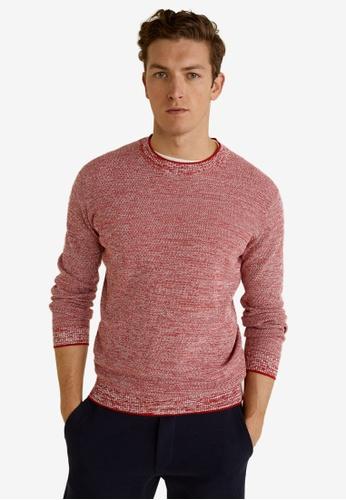Mango Man 紅色 Flecked Structure Cotton Sweater A3215AA7B34AC8GS_1