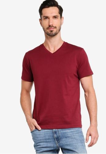 ZALORA BASICS 紅色 Regular Fit V Neck T-shirt ACFC8AA6B79ABCGS_1
