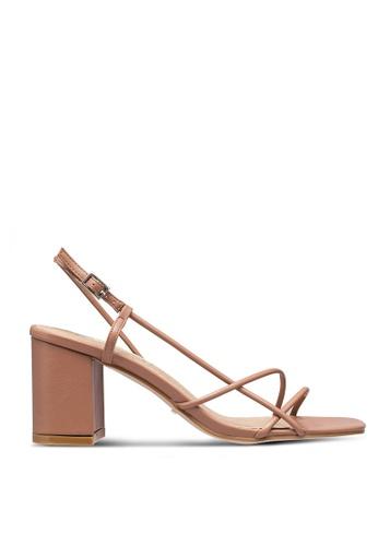 Billini 褐色 繞帶高跟鞋 E836DSH09A8EBDGS_1