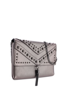 9c0450a5966f 50% OFF Dorothy Perkins Pewter Studded Tassel Clutch RM 129.00 NOW RM 64.50  Sizes One Size