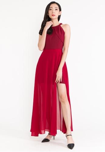 BEBEBEIGE red BebeBeige Halter Neck Sleeveless Open Slit Cocktail/Evening Long Dinner Dress 20C06AAA1822F5GS_1