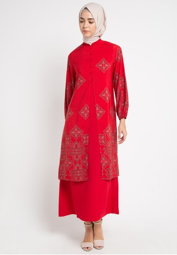Korz red Double Layer Buttons Front Gamis D1885AA05B147DGS_1
