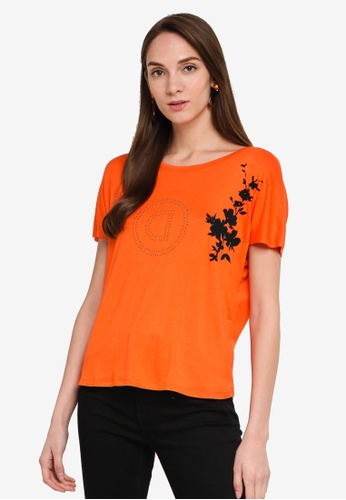 Desigual orange Pleated Back T-Shirt BBD99AAC776E13GS_1
