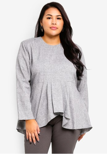 Gene Martino black Plus Size Peplum Blouse BEE82AA7204993GS_1