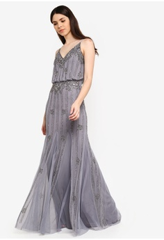 177a5d085e81 Lace & Beads grey Keeva Strappy Embellished Maxi Dress 659F2AAA77D2A2GS_1