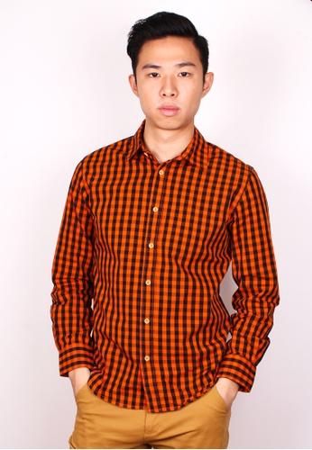 Moley orange Checked Long Sleeve Shirt – Orange MO329AA03QEASG_1