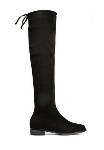 Twenty Eight Shoes 黑色 綁帶過膝長靴799-12 00B78SH552C8ABGS_1