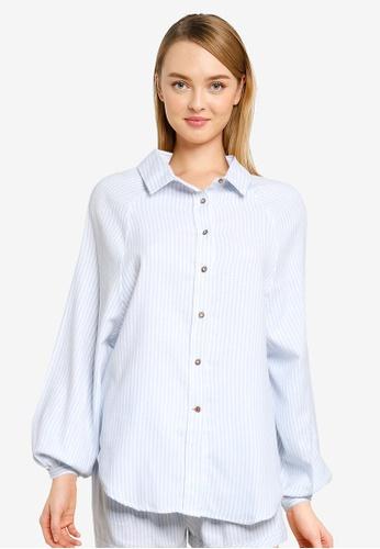 Cotton On Body blue Warm Flannel Sleep Shirt 00F83AAA7D6B78GS_1