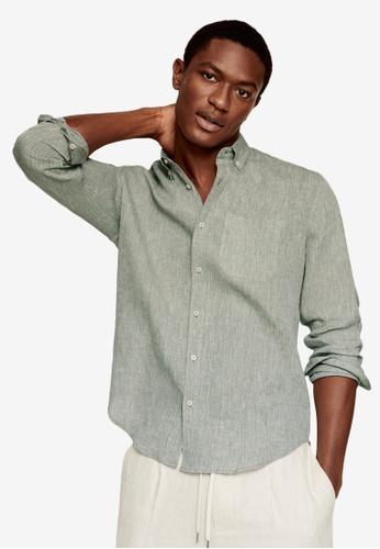MANGO Man beige 100% Linen Slim Fit Shirt BE645AAB53DCE1GS_1