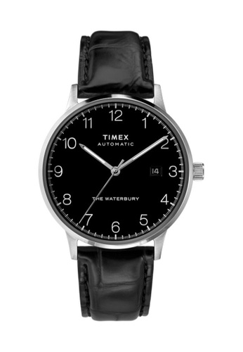 TIMEX black and silver Timex Waterbury Automatic 40mm - Silver-Tone Case, Black Strap (TW2T70000) B6BA7AC512E437GS_1