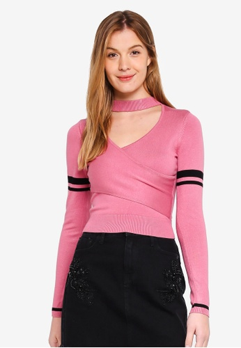 Guess pink Mai Varsity Stripe Cropped Sweater 6469EAA99C7BF8GS_1
