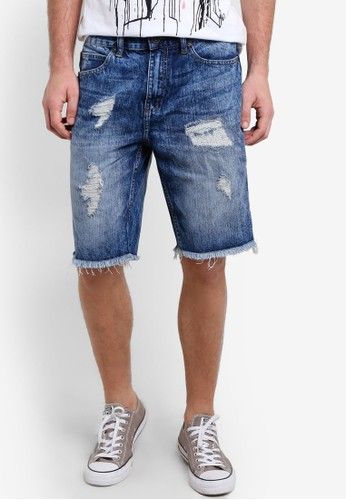 Factorie blue Shredded Shooter Shorts FA113AA66YNTID_1