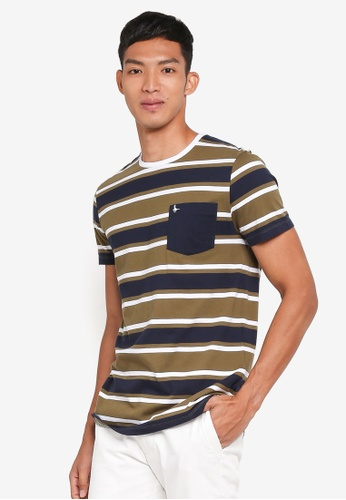 Jack Wills green Cardell Stripe T-Shirt A06FFAA1B65F39GS_1