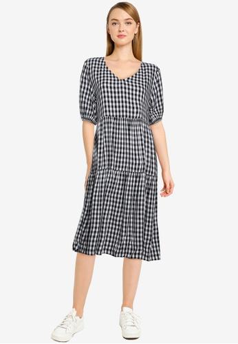 JACQUELINE DE YONG black and white Megan Life 2/4 Midi Dress 20CB5AA5F39D2CGS_1