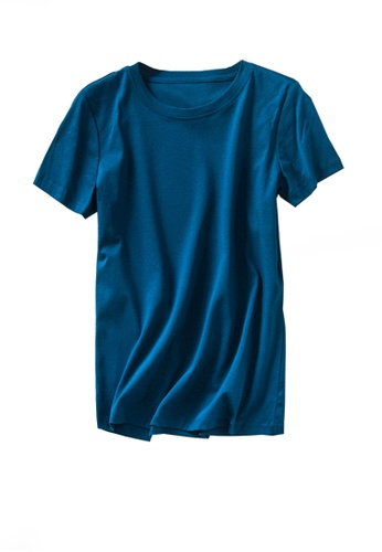 Twenty Eight Shoes navy VANSA Round Neck Mercerized Cotton Short-sleeved T-Shirt VCW-Ts1902U EDBDCAA0AE4DCAGS_1