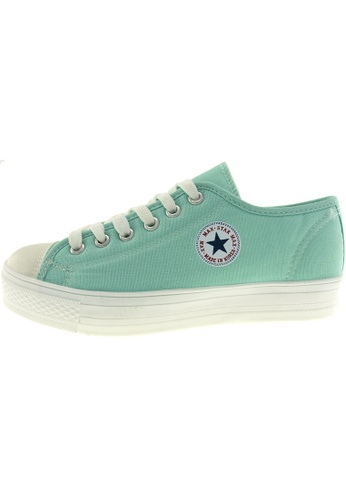 Maxstar 綠色 新款韩国鞋C1-6H時尚帆布布混合女浅蓝色 US Women Size MA345SH86HFHTW_1