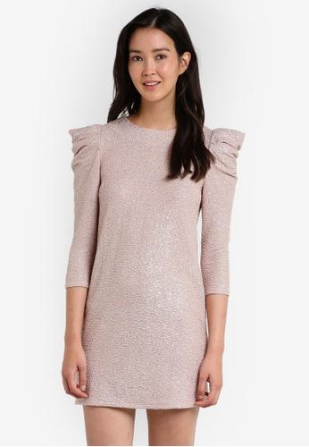 Miss Selfridge silver Metallic Puff Sleeve Dress MI665AA16JYDMY_1