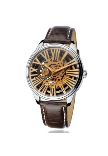 Eyki white and silver Eyki Skeleton Automatic EFL8560 Tourbillon Man Leather Watch (Black Brown Strap) EY078AC81ROCMY_1