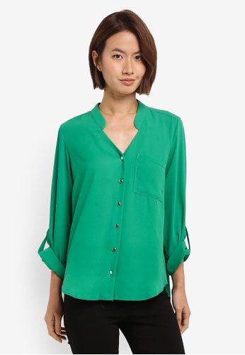 Dorothy Perkins green Green Roll Sleeve Blouse A48C9AA552AA21GS_1