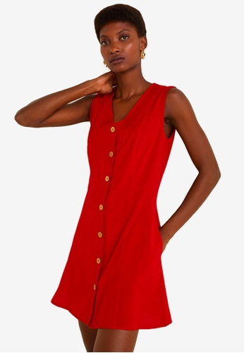 Mango red Buttoned Cotton Dress 7B569AAE372358GS_1