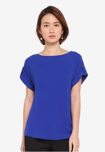 Dorothy Perkins blue Cobalt Button Sleeve Tee 454B9AAFC936FFGS_1