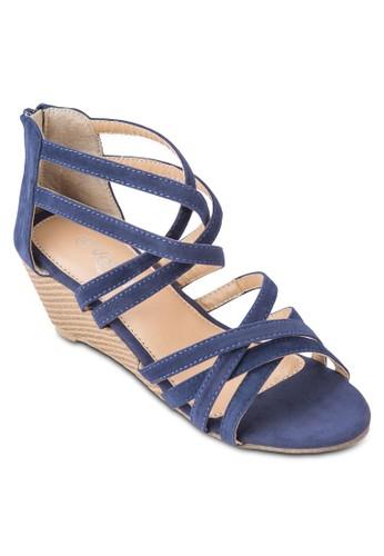 Dana zalora taiwan 時尚購物網交叉帶羅馬厚底涼鞋, 女鞋, 楔形涼鞋
