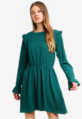 Brave Soul green Pleat And Ruffle Detail Black Dress 89802AA0ED0654GS_1
