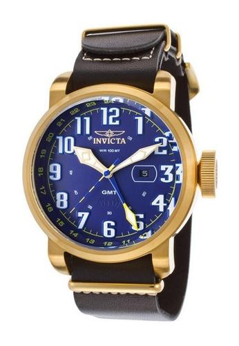 Invicta black and gold Invicta Aviator Men 52mm Case Black, Ivory Leather Strap Blue Dial Quartz Watch 18889 IN968AC0F5EYSG_1
