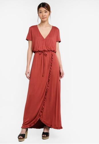 Something Borrowed red Relaxed Wrap Maxi Dress With Ruffles E9B2FAA40E7E95GS_1