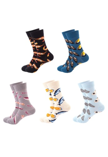 Kings Collection blue Set of 5 Pairs Pattern Cozy Socks (EU39-EU46) (HS202111-15) C1889AA0FE461EGS_1