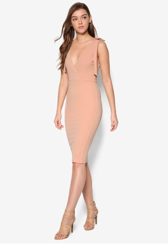 繫帶肩飾及膝連身裙、 服飾、 洋裝MISSGUIDED繫帶肩飾及膝連身裙最新折價