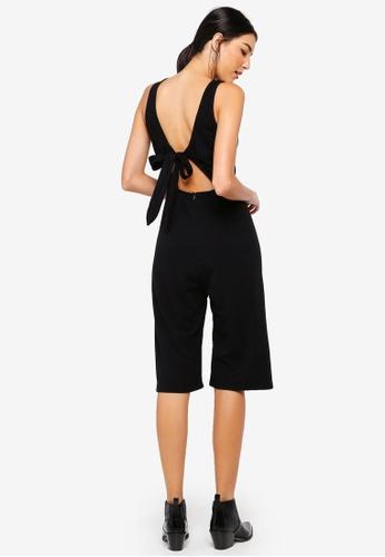 ZALORA black Tie Back Rib Jumpsuit C0775AAEF89B87GS_1