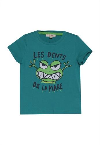 DU PAREIL AU MÊME (DPAM) green Short Sleeve T-Shirt With Front Print BADE4KAC3226DAGS_1
