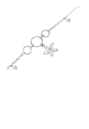 Glamorousky silver Elegant Flower Anklet with Silver Austrian Element Crystals 02B17ACA7897ADGS_1