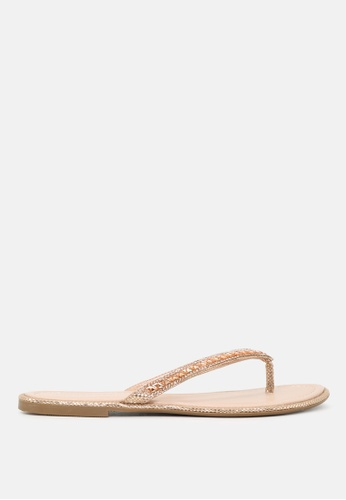 London Rag gold Embellished Thong Sandals 84918SHAB1BAE4GS_1