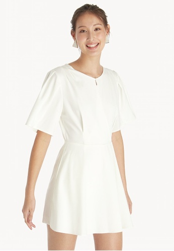 be928c3c79b9 Buy Pomelo Pleated Sleeve Romper - White Online on ZALORA Singapore