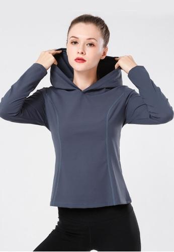 B-Code grey ZYG3063-Lady Quick Drying Running Fitness Yoga Sports Hoody -Grey 9B18EAAB801325GS_1