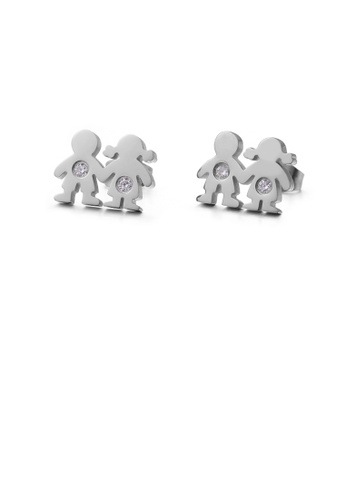 Glamorousky white Simple Cute Couple Cartoon Character 316L Stainless Steel Earrings with Cubic Zirconia CEC37AC9751AC8GS_1