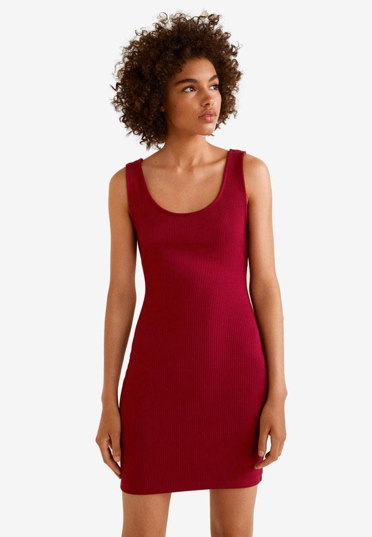 Ribbed Red Mango Dark Tailored Dress 4TxPP8
