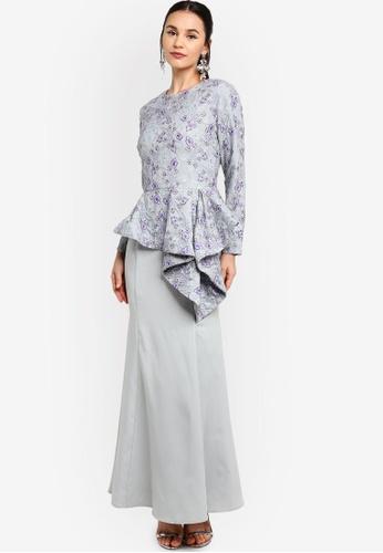 Zalia grey Lace Asymmetrical Peplum Dress 0C821AA3788CAFGS_1