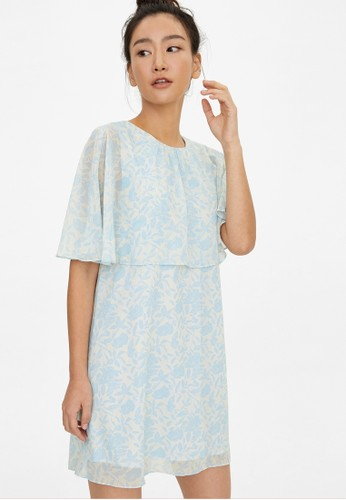 Pomelo blue Mini Floral Cover Up Dress - Blue 6A2CCAA2EE2C7AGS_1