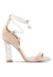 Public Desire pink Yara Perspex Twist Lace Up Heels PU378SH98LAVMY_1